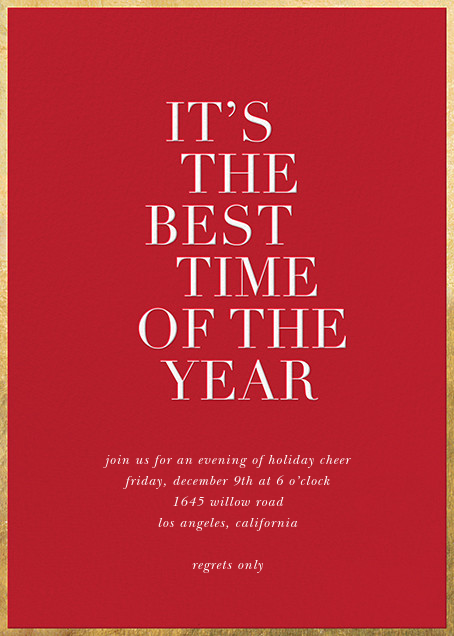 Best Time of the Year - Red - Sugar Paper - Invitations