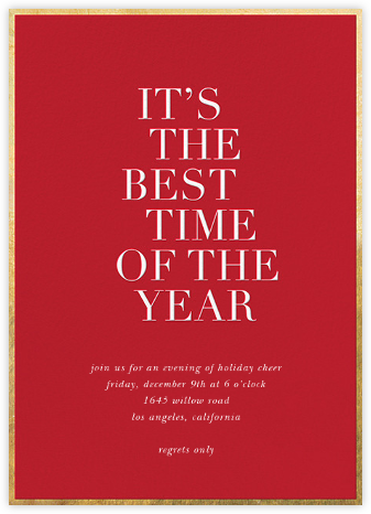 Best Time of the Year - Red - Sugar Paper - Holiday invitations