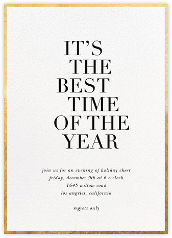 Best Time of the Year - White - Sugar Paper - Holiday party invitations