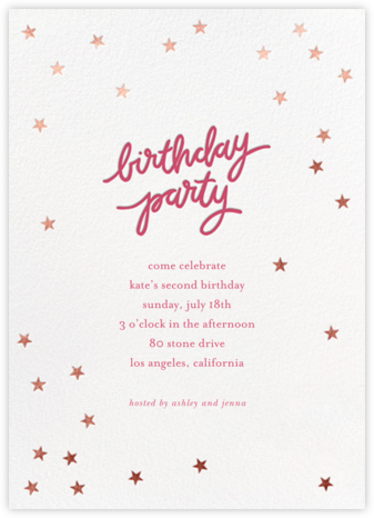 Birthday Stars - Rhubarb/Rose Gold - Sugar Paper - Online Kids' Birthday Invitations