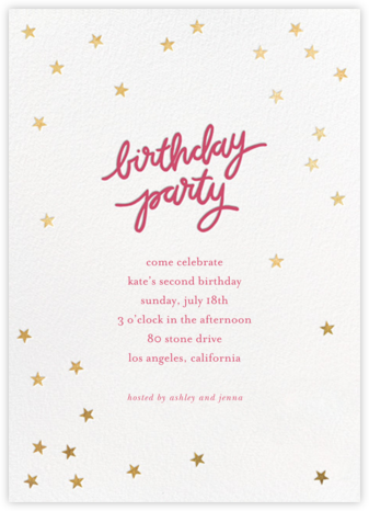 Birthday Stars - Rhubarb/Gold - Sugar Paper - Birthday invitations