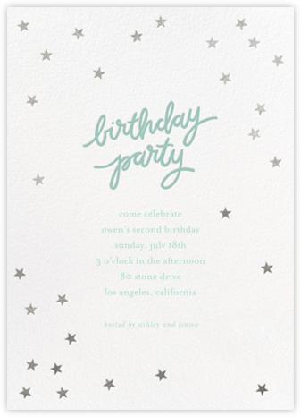 Birthday Stars - Blue/Silver - Sugar Paper - Online Kids' Birthday Invitations