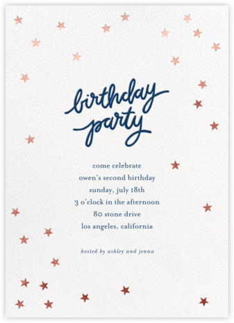 Birthday Stars - Dark Blue/Rose Gold - Sugar Paper - Online Kids' Birthday Invitations