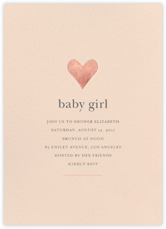 Luminous Heart - Pink/Rose Gold - Sugar Paper - Baby Shower Invitations
