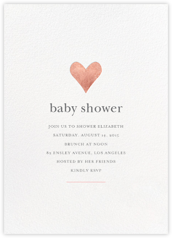 Luminous Heart - White/Rose Gold - Sugar Paper - Baby Shower Invitations