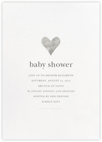 Luminous Heart - White/Silver - Sugar Paper - Baby Shower Invitations