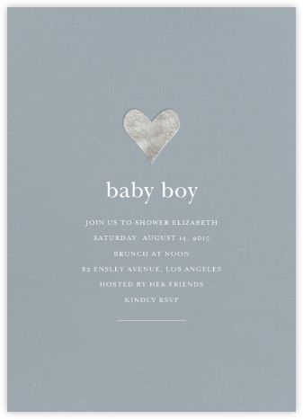 Luminous Heart - Pacific/Silver - Sugar Paper - Baby Shower Invitations