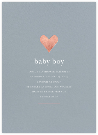 Luminous Heart - Pacific/Rose Gold - Sugar Paper - Baby Shower Invitations