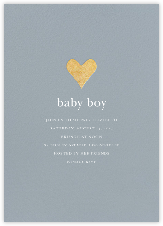 Luminous Heart - Pacific/Gold - Sugar Paper - Baby Shower Invitations