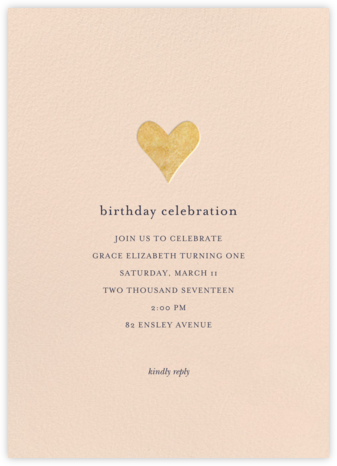 Luminous Heart - Pink/Gold - Sugar Paper - First Birthday Invitations