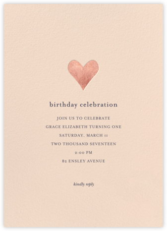 Luminous Heart - Pink/Rose Gold - Sugar Paper - Online Kids' Birthday Invitations