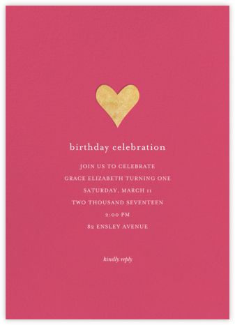 Luminous Heart - Rhubarb/Gold - Sugar Paper - Sweet 16 invitations