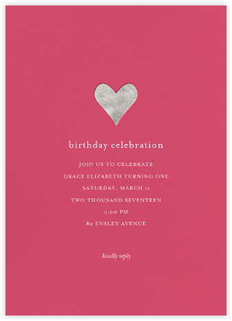 Luminous Heart - Rhubarb/Silver - Sugar Paper - First Birthday Invitations