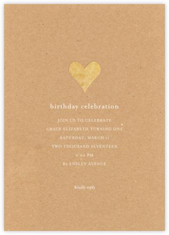 Luminous Heart - Kraft/Gold - Sugar Paper - Online Kids' Birthday Invitations