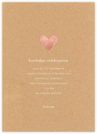 Luminous Heart - Kraft/Rose Gold - Sugar Paper - First Birthday Invitations