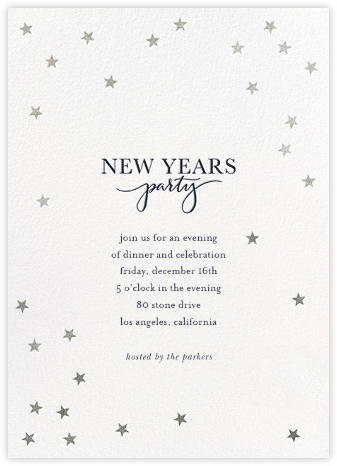 Starry New Year - White/Silver - Sugar Paper - New Year's Eve Invitations