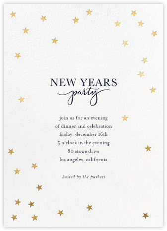 Starry New Year - White/Gold - Sugar Paper - New Year's Eve Invitations