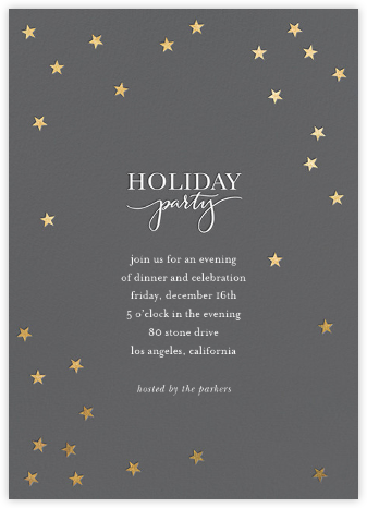 Starry Holiday - Charcoal/Gold - Sugar Paper - Invitations