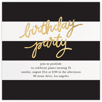 Cabana Birthday - Black - Sugar Paper - Adult Birthday Invitations