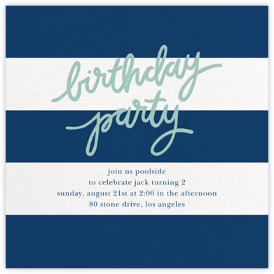 Cabana Birthday - Dark Blue - Sugar Paper - Online Kids' Birthday Invitations