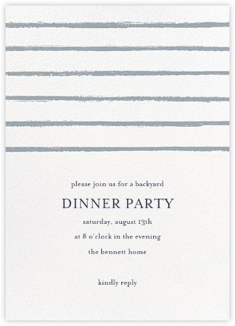 Painted Stripes - Pacific - Sugar Paper - Dinner Party Invitations