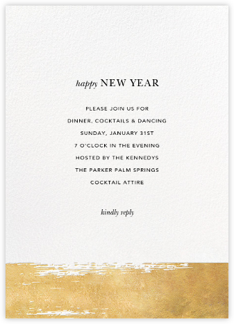 Simple Brushstroke - Sugar Paper - New Year's Eve Invitations