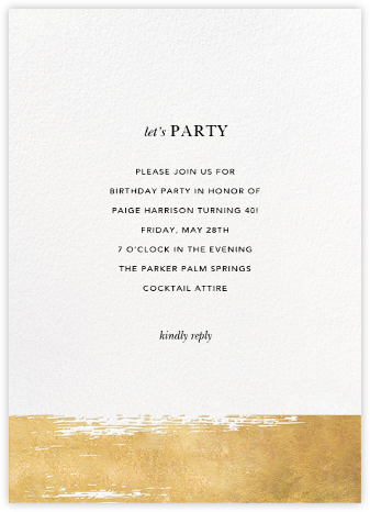 Simple Brushstroke - Sugar Paper - Adult Birthday Invitations