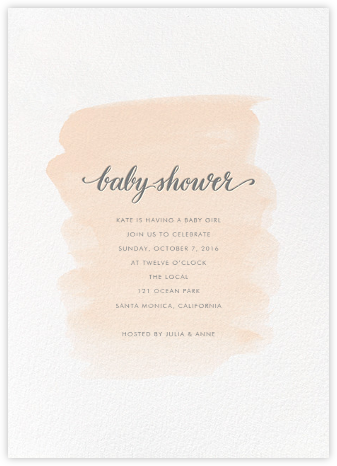 Baby Brushstroke - Pink - Sugar Paper - Invitations