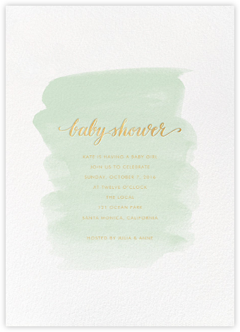 Baby Brushstroke - Mint - Sugar Paper - Baby Shower Invitations