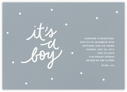 On His Way - Sugar Paper - Baby Shower Invitations