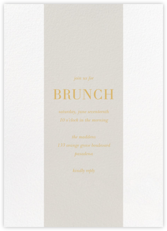 Classic Stripe - Gray - Sugar Paper - Brunch invitations
