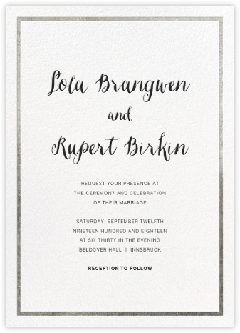 Idylle (Invitation) - White/Silver - Paperless Post - Wedding Invitations