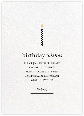 Birthday Candle - Sugar Paper - Adult birthday invitations