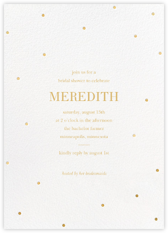Scattered Dots - White/Gold - Sugar Paper - Bridal shower invitations