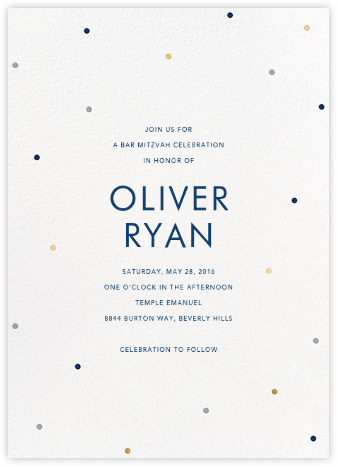 Scattered Dots - White/Dark Blue - Sugar Paper - Bar and Bat Mitzvah Invitations