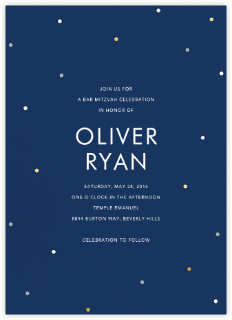 Scattered Dots - Dark Blue - Sugar Paper - Bat and Bar Mitzvah Invitations