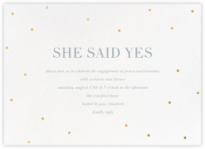 Scattered Dots (Horizontal) - Sugar Paper - Engagement party invitations