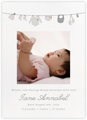 Onesie Photo (Photo) - Gray - Paperless Post - Birth Announcements