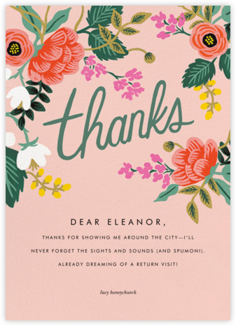 Birch Monarch (Thank You) - Pink - Rifle Paper Co. - Online Thank You Cards
