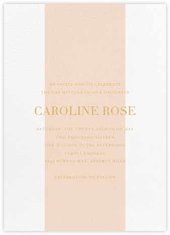 Classic Stripe - Pink - Sugar Paper - Bat and Bar Mitzvah Invitations