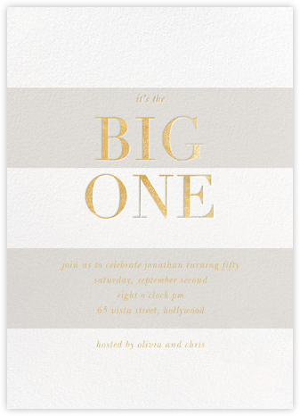 The Big One - Gold - Sugar Paper - Milestone birthday invitations