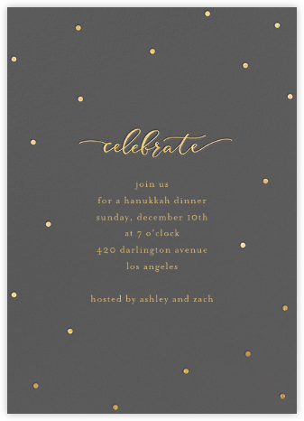 Celebration Dots - Charcoal/Gold - Sugar Paper - Hanukkah Invitations