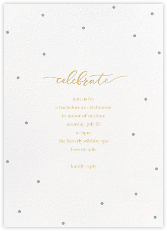 Celebration Dots - White/Pacific - Sugar Paper - Bachelorette party invitations