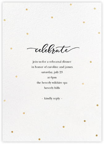 Celebration Dots - White/Gold - Sugar Paper - Wedding Weekend Invitations
