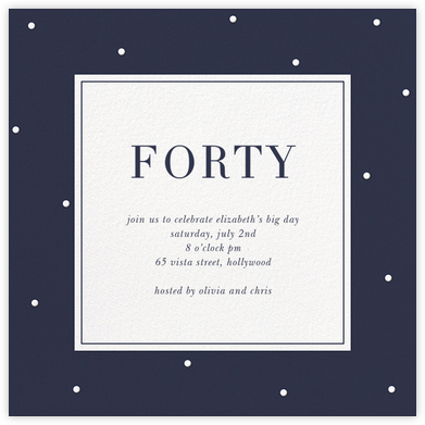 Dotted Frame - Navy - Sugar Paper - Milestone birthday invitations
