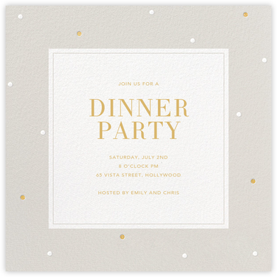 Dotted Frame - Gray - Sugar Paper - Dinner Party Invitations