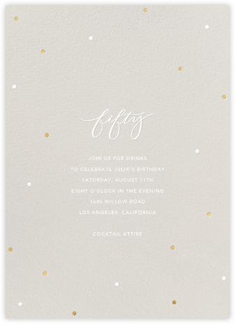 Milestone Dots (Fifty) - Gray - Sugar Paper - 50th Birthday Invitations