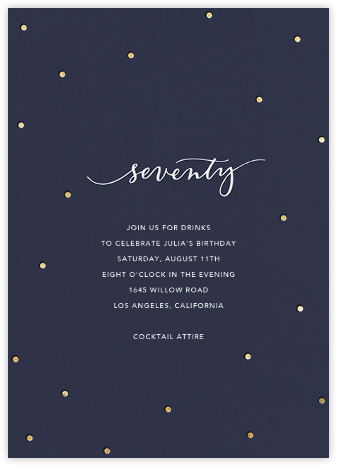 Milestone Dots (Seventy) - Navy - Sugar Paper - Adult Birthday Invitations