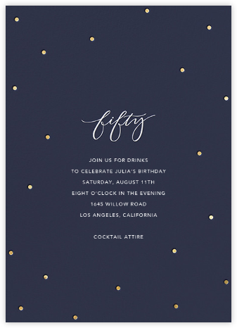 Milestone Dots (Fifty) - Navy - Sugar Paper - Adult Birthday Invitations