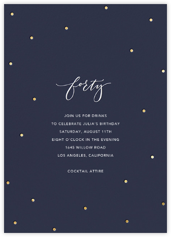 Milestone Dots (Forty) - Navy - Sugar Paper - Birthday invitations